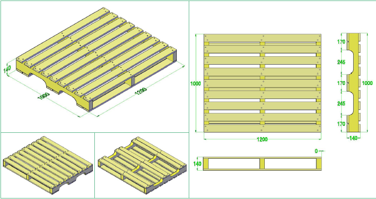 Pallet gỗ - Pallet gỗ đố 1 mặt 4 chiều nâng