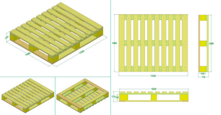Pallet gỗ - Pallet gỗ gù 1 mặt 4 chiều nâng